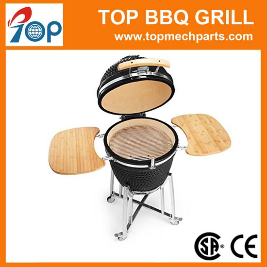Ceramic Charcoal Kamado Grill smoker with Side Shelves